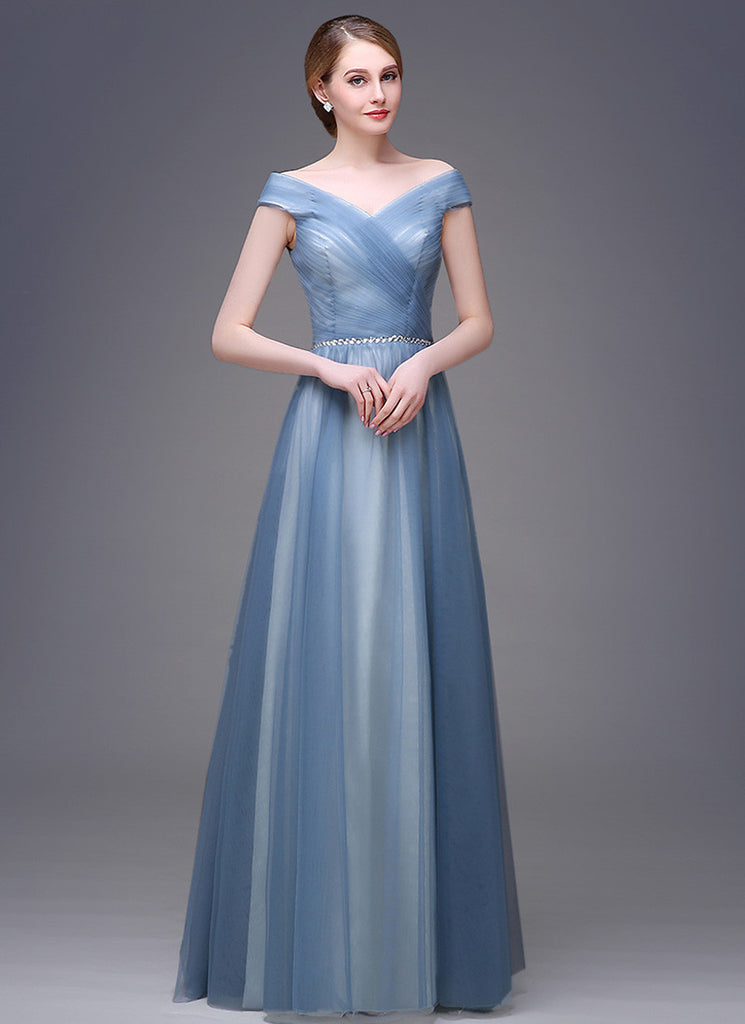 Powder Blue Tulle Evening Dress with V Neck and Hug Shoulder