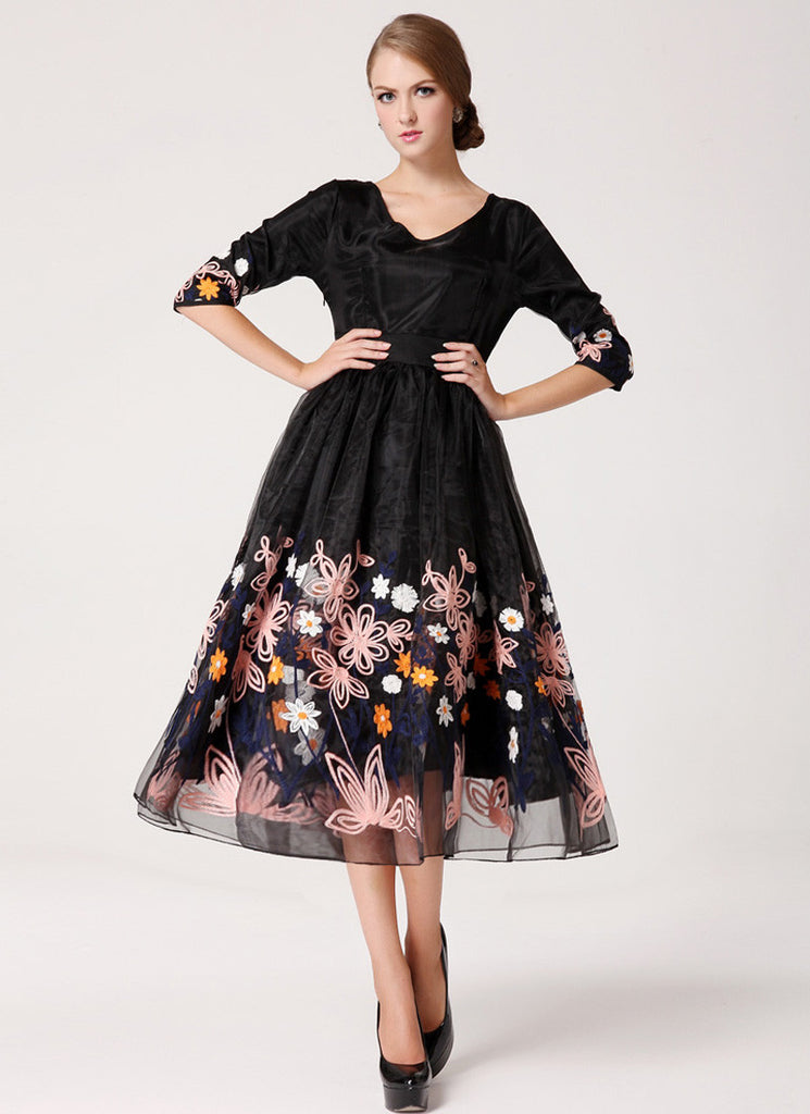 Black Organza Tea Dress with Colorful Floral Embroidery on Skirt