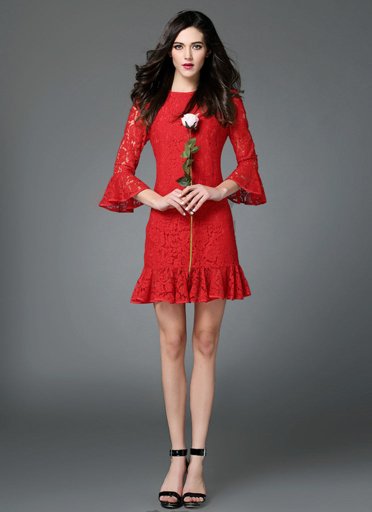 Red Lace Mini Dress with Lantern Sleeves and Flounce Hem