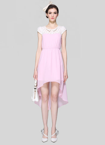 Light Pink Hi Lo Hem Dress with White Lace Detail and Modified Peter Pan Collar RM531