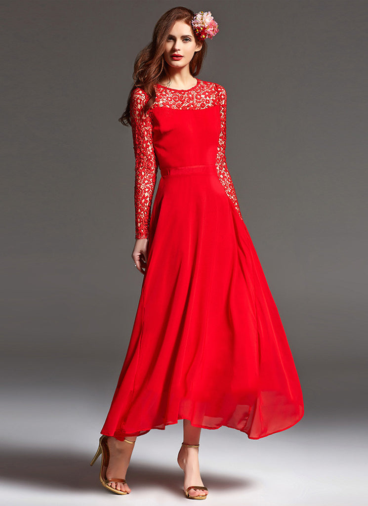 Long Sleeved Red Lace Chiffon Maxi Dress