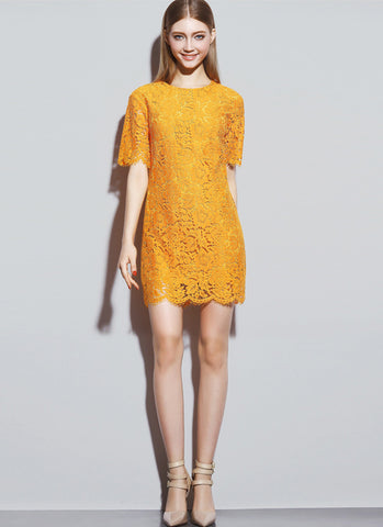 Orange Lace Mini Sheath Dress with Scalloped Hem and Eyelash Finishes RD522