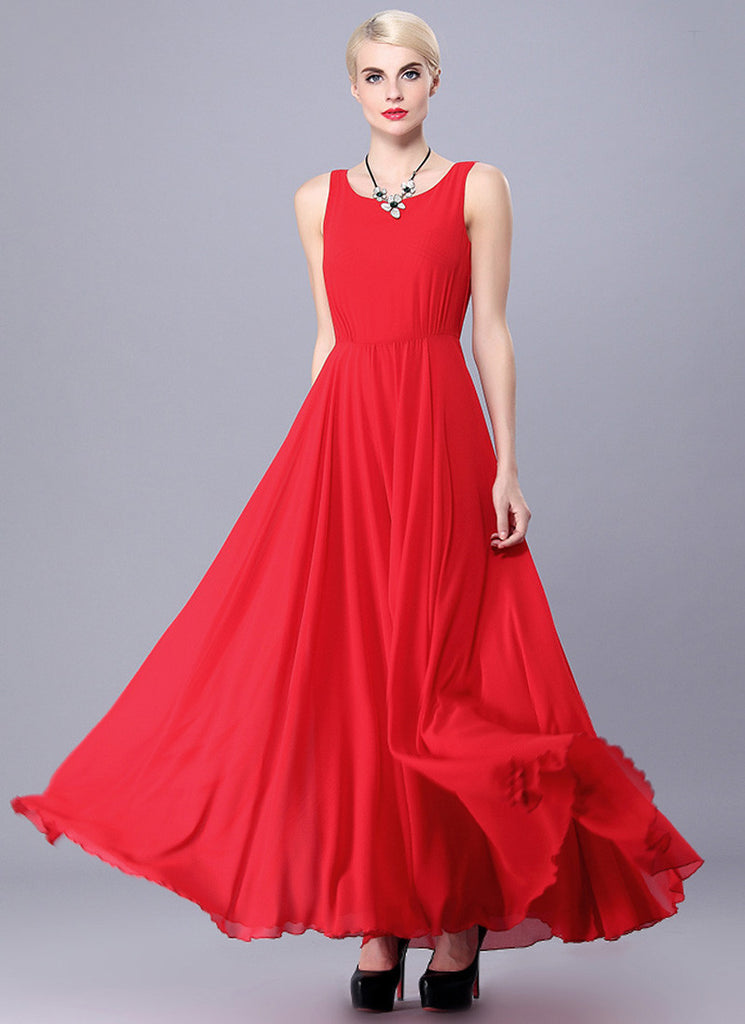 Red Chiffon Maxi Dress with Deep Scoop Back