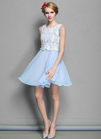 White Lace Mini Dress with Light Blue Skirt Fit and Flare Dress RD575