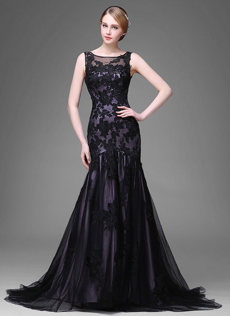 Dark Slate Blue Evening Dress with Black Tulle Overlay and Lace Appliqué
