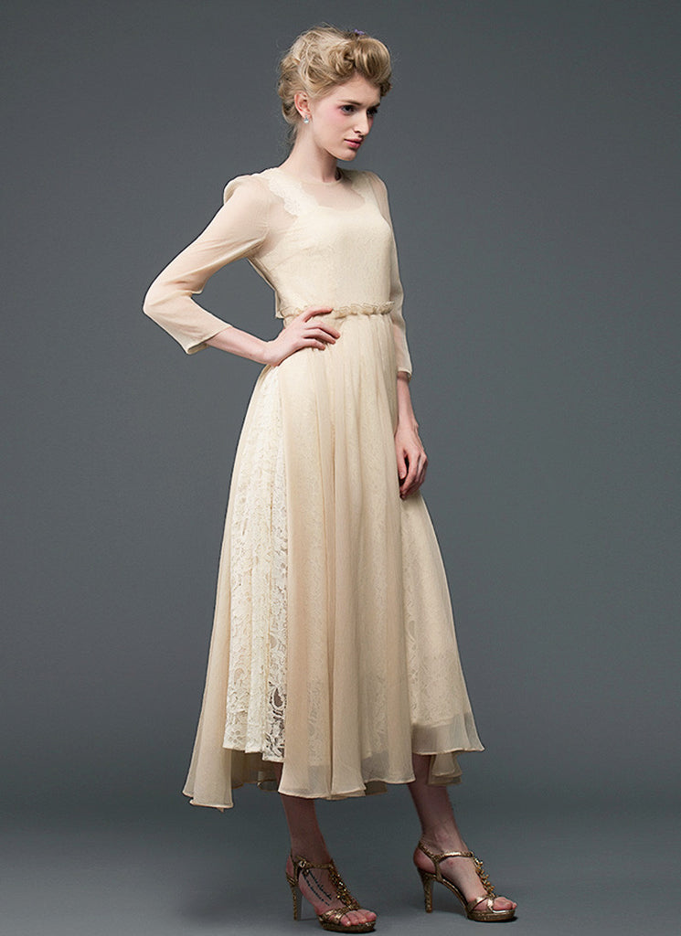 Champagne Lace Chiffon Maxi Dress with Square Neck and Back