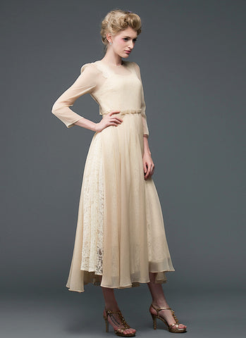 Champagne Lace Chiffon Maxi Dress with Square Neck and Back RM596