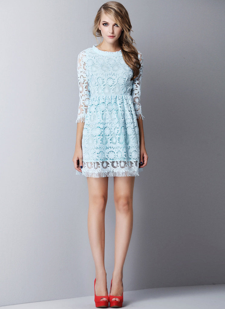Light Blue Lace Mini Dress with Long Eyelash Details