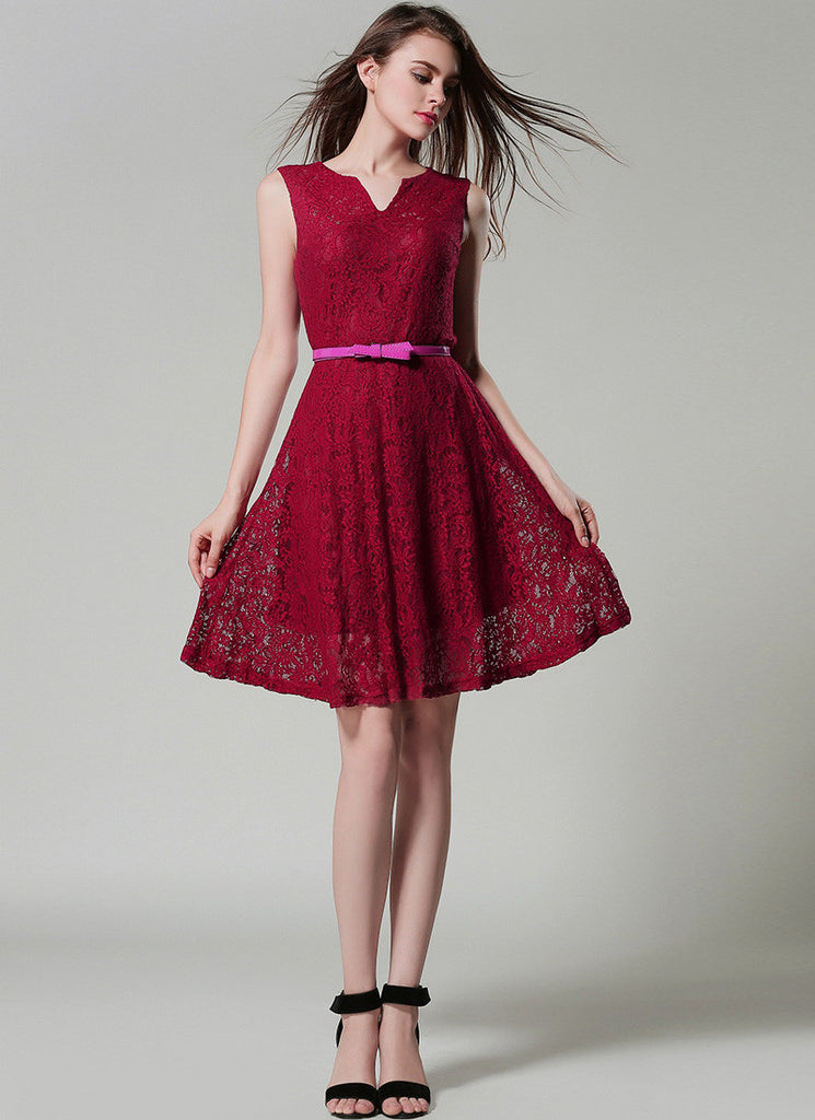 Dark Red Lace Fit and Flare Mini Dress with Vented neck