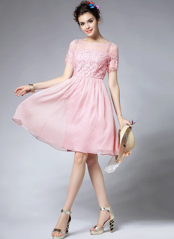 Pink Lace Chiffon Mini Fit and Flare Dress with Scallop and Eyelash Details RD586