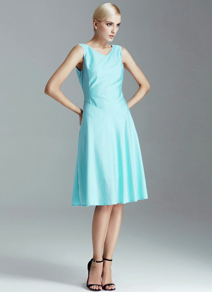 Pale Turquoise Mini Aline Dress with V Neck and V Back