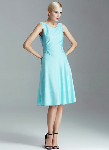 Pale Turquoise Mini Aline Dress with V Neck and V Back RD504