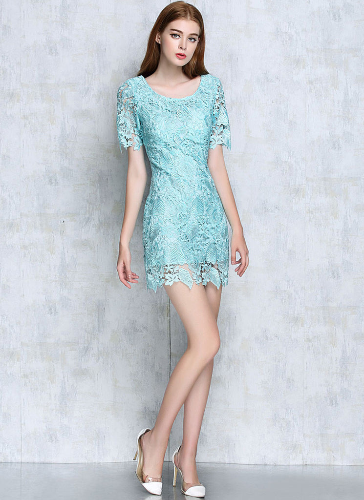 Aquamarine Lace Sheath Mini Dress with Floral Scalloped Hem and Cuff