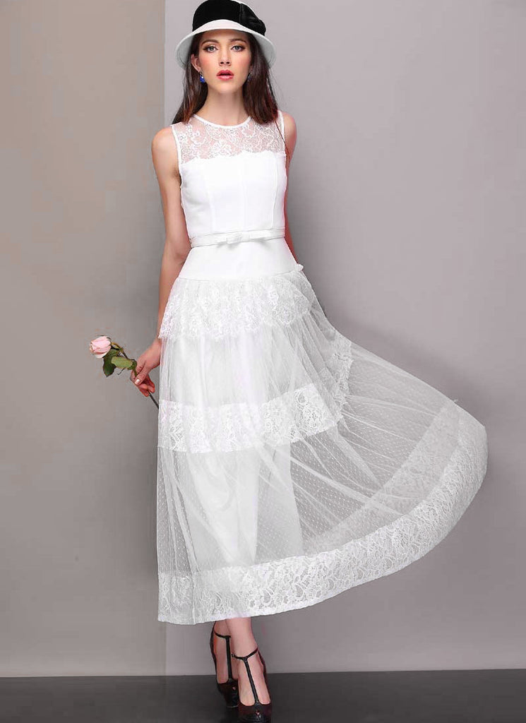 White Lace Tulle Maxi Dress with Tiered Skirt and Bow Belt