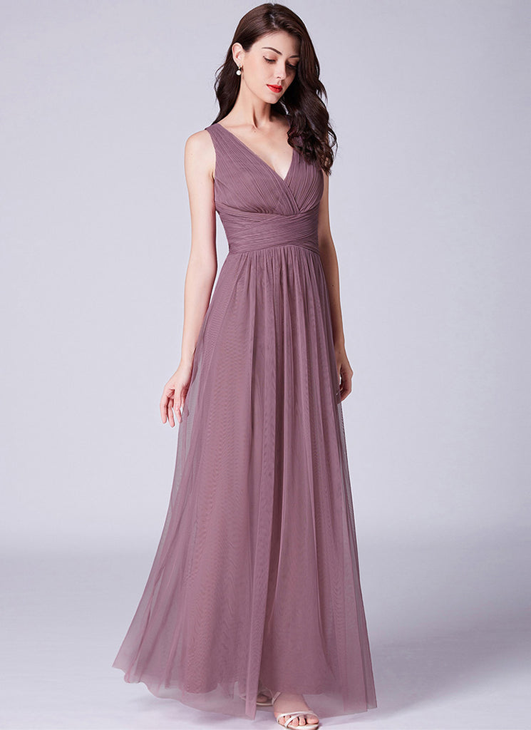 Light Purple Chiffon Maxi Dress with V Back and Cross Empire Waist 192002
