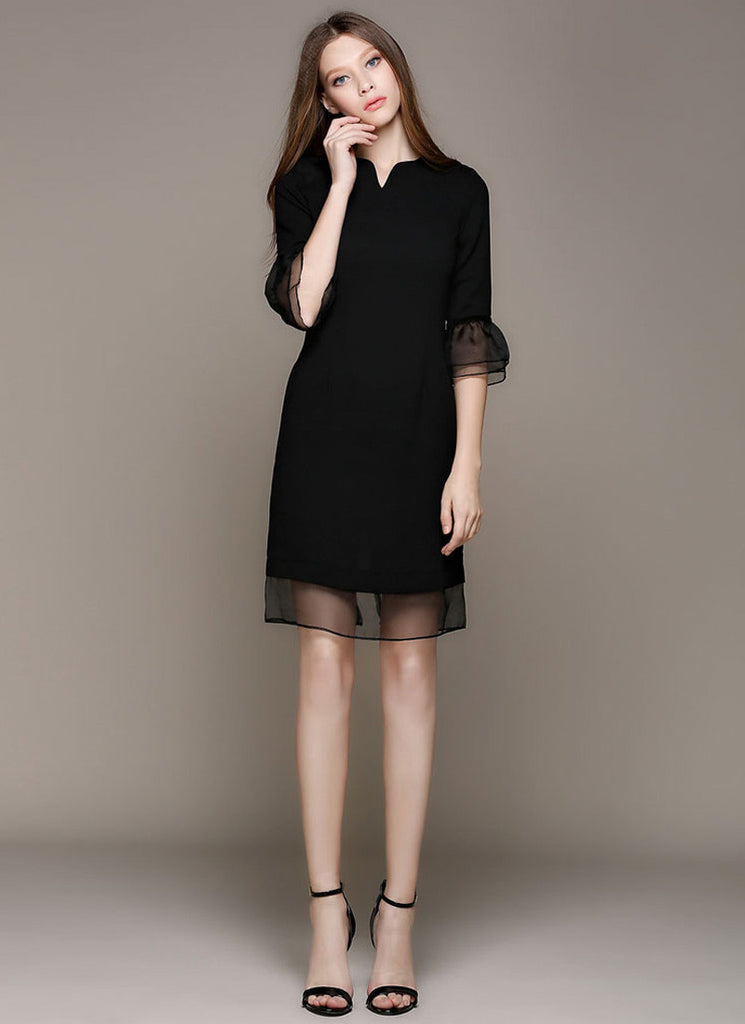 Black Chiffon Mini Dress with Layered Organza Lantern Sleeves