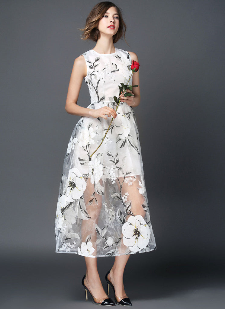 Sleeveless Yellow Floral Organza Tea Dress - Floral Organza Midi Dress