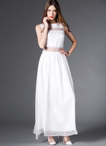 White Chiffon Maxi Skirt with Tulle Mesh Waist RM575