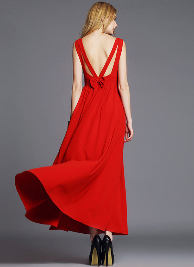 Backless Red Chiffon Maxi Dres with Bow Embellishment