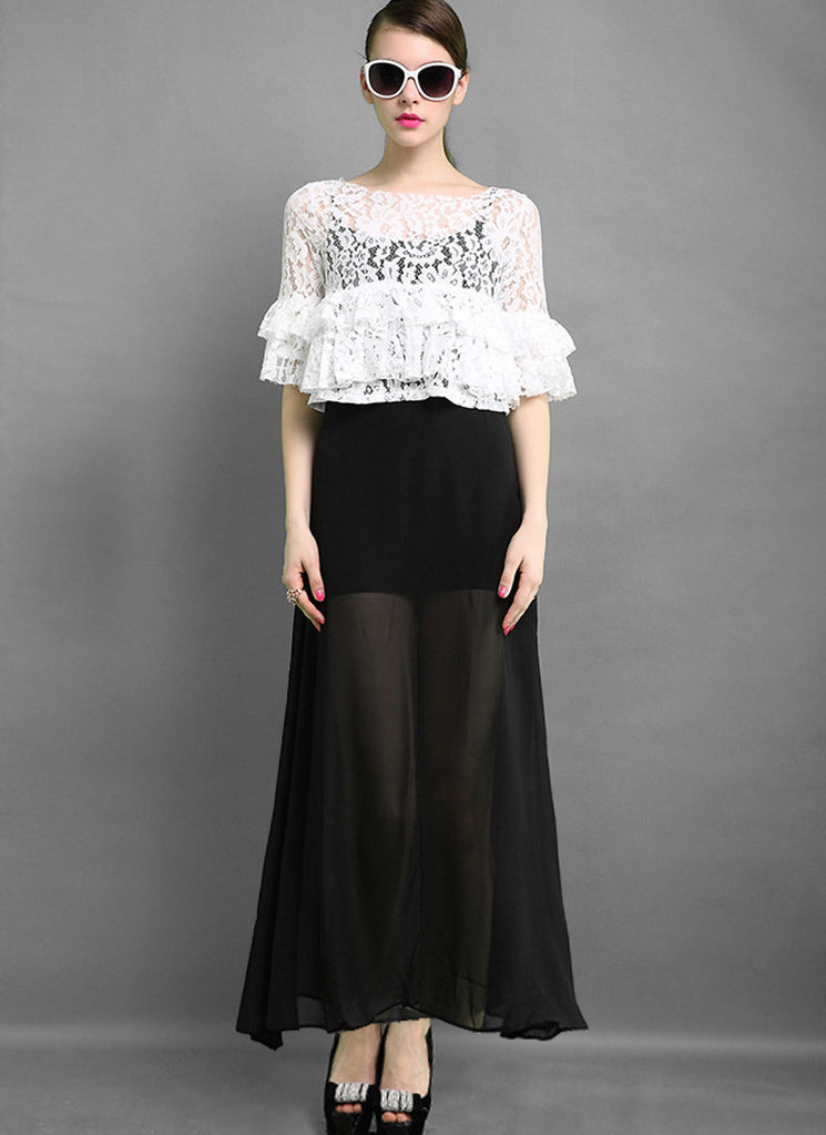 Black and White Lace Peplum Maxi Dress