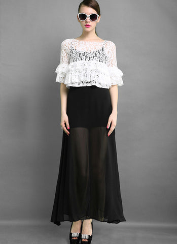 Black and White Lace Peplum Maxi Dress RM576
