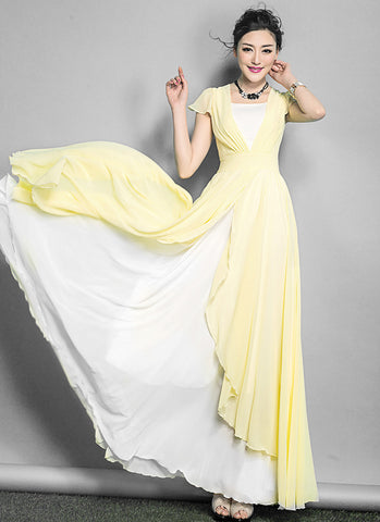 White Maxi Dress with Yellow Asymmetric Overlay RM642