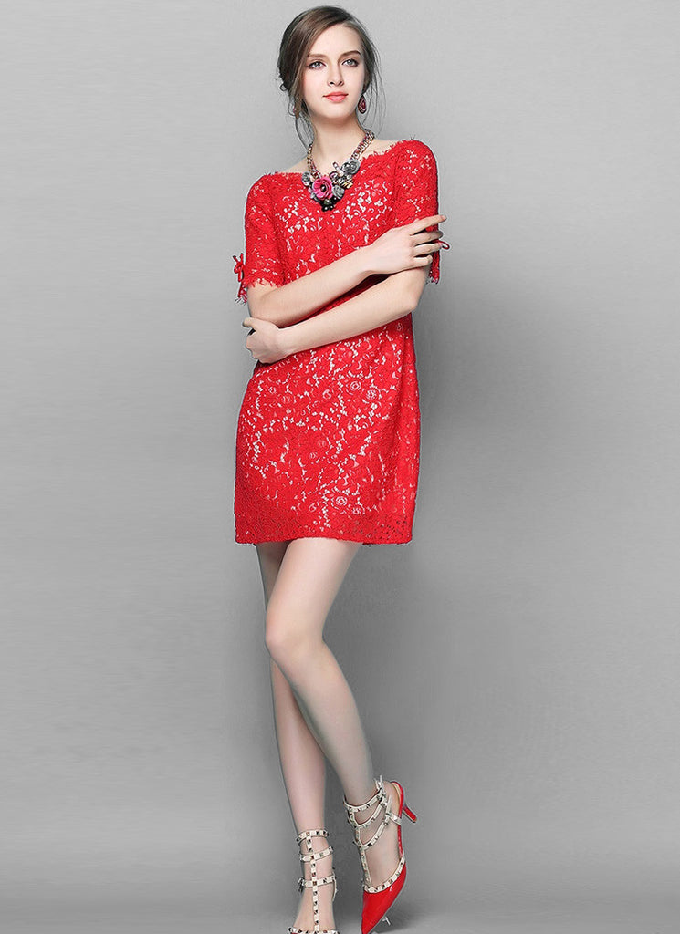 Red Lace Sheath Dress with Scalloped Sabrina Neck