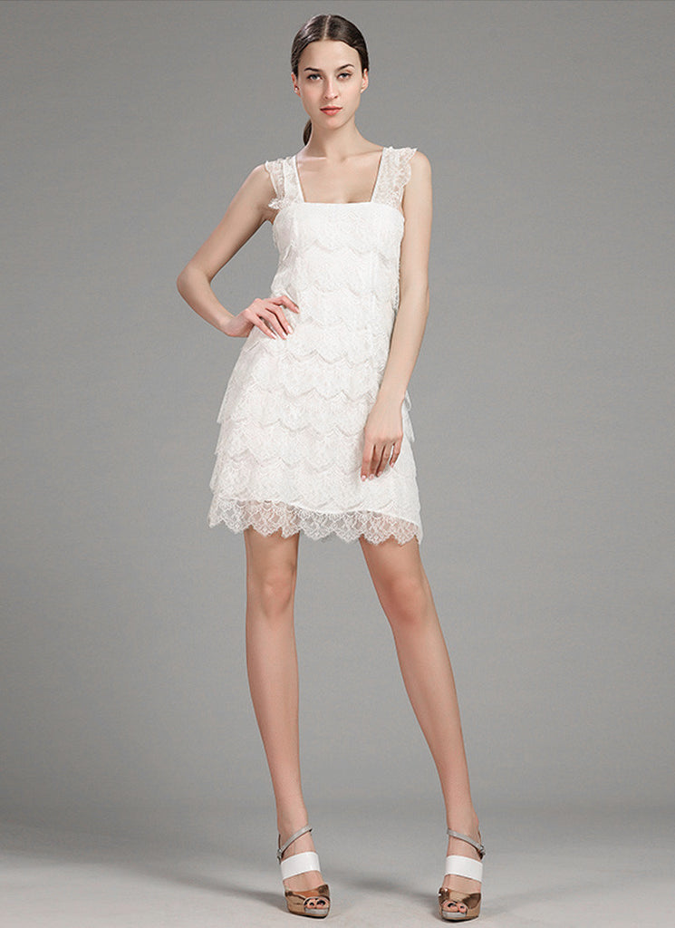 Layered White Lace Mini Dress with Scallop and Eyelash Details