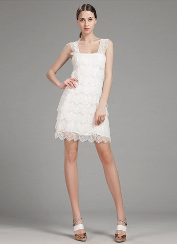 Layered White Lace Mini Dress with Scallop and Eyelash Details RD596
