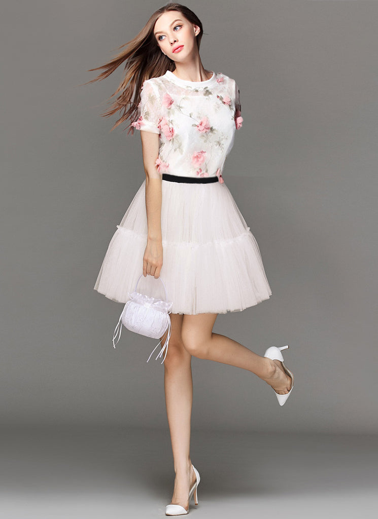 3D Floral Applique Organza Tulle Mini Dress with Ruffled Details RD583