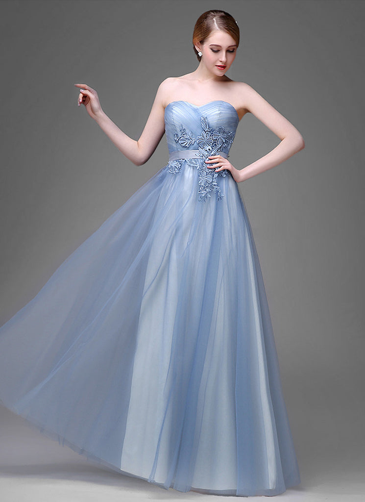 Powder Blue Evening Dress with Floral Lace Appliqué