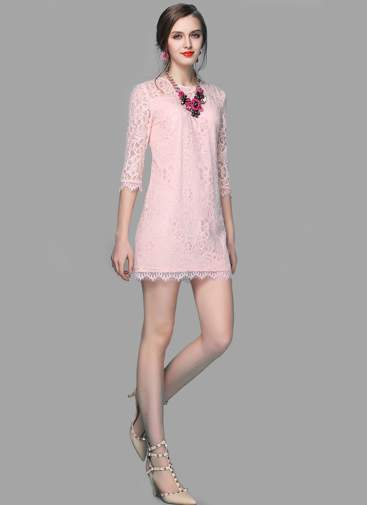 Light Pink Lace Sheath Mini Dress with Scalloped Hem and Eyelash