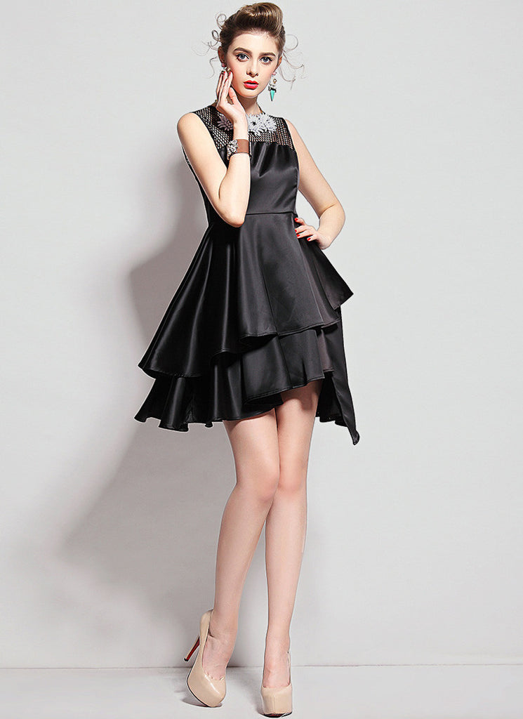 Black Satin Asymmetric Mini Dress with Mesh Details