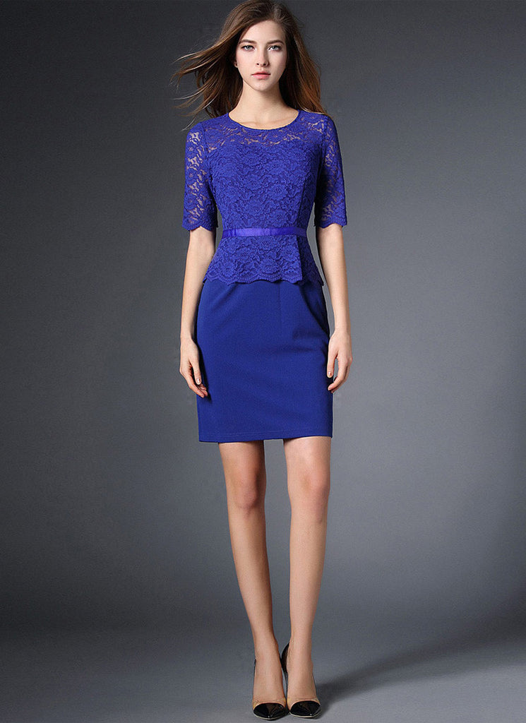 Blue Lace Peplum Mini Dress with Scallop Details