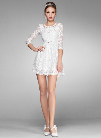PU Leather Lace Mini Dress with Embellished Neck and Waist RD617