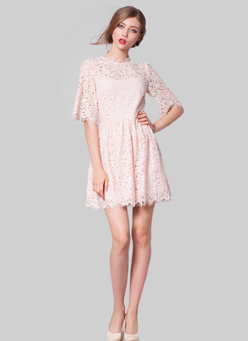 Light Pink Lace Fit and Flare Mini Dress with Scalloped Hem and Eyelash Details RD603