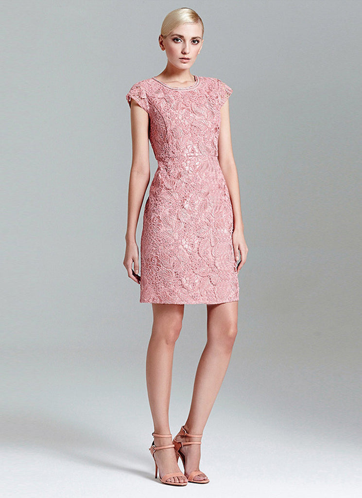 Nude Pink Lace Mini Dress (Sheath Dress) with Cap Sleeves