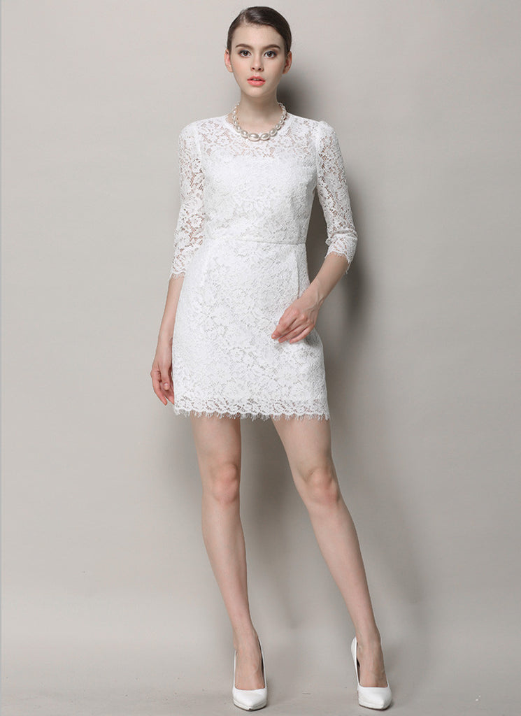 White Lace Mini Dress with Scalloped Hem and Three Quarter Sleeves