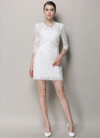White Lace Mini Dress with Scalloped Hem and Three Quarter Sleeves RD631