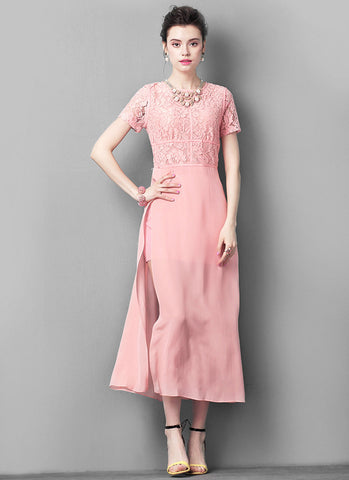 Nude Pink Lace Chiffon Maxi Dress with High Side Slits RM549