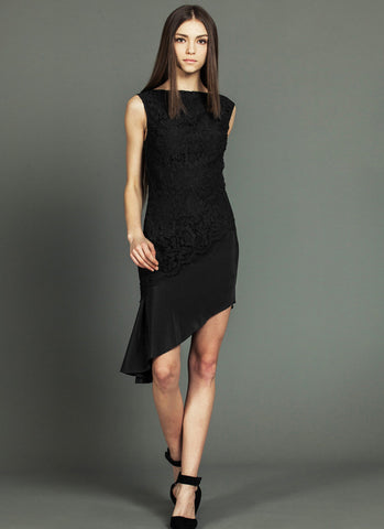 Black Lace Chiffon Asymmetric Dress with Angled Scalloped Peplum RD609