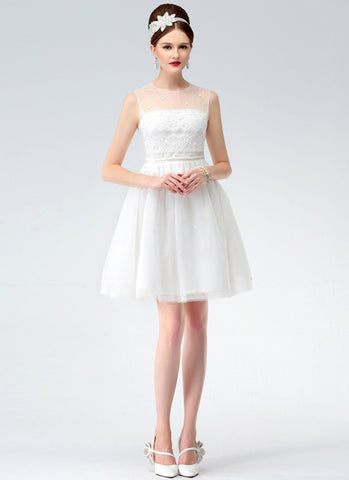 White Lace Mini Fit and Flare Dress with Bead Embellished Neck RD618