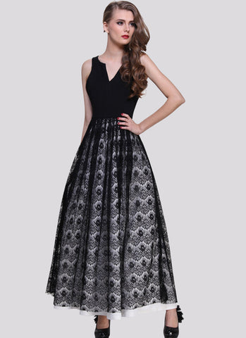 Black Eyelash Lace Maxi Dress with Vented Neck and White Lining RM591