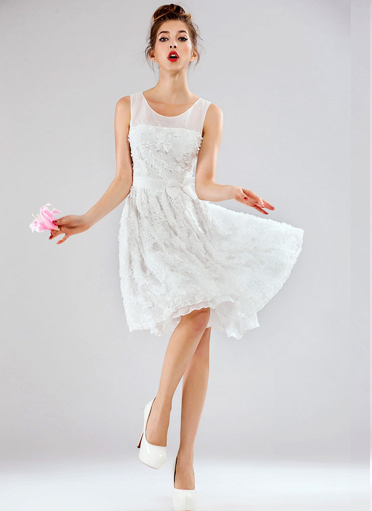 White Lace Fit and Flare Mini Dress (3D Lace) with Bow Belt