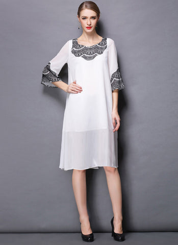 White Chiffon Mini Dress with Black Lace Details RD600