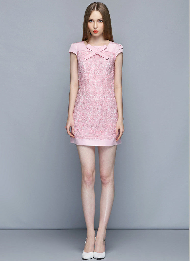 Pink Lace Sheath Mini Dress with Scalloped Layered Hem