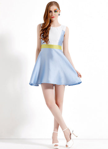 Light Blue Aline Satin Mini Dress with White Top and Yellow Waist RD564