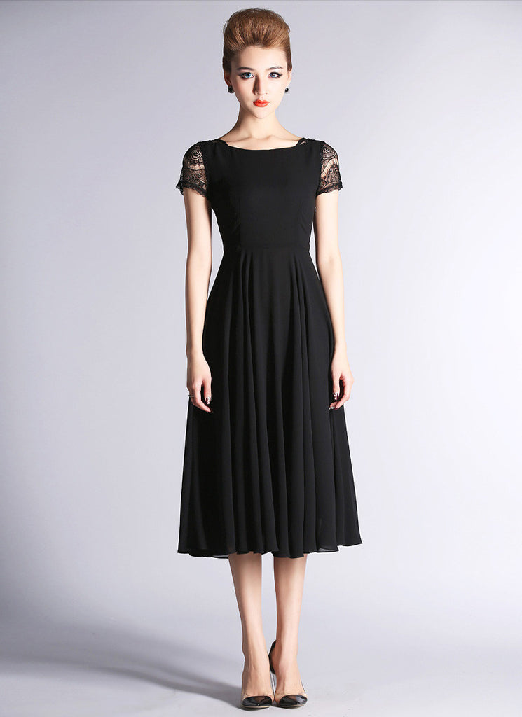 Black Chiffon Tea Dress with Lace Cap Sleeves