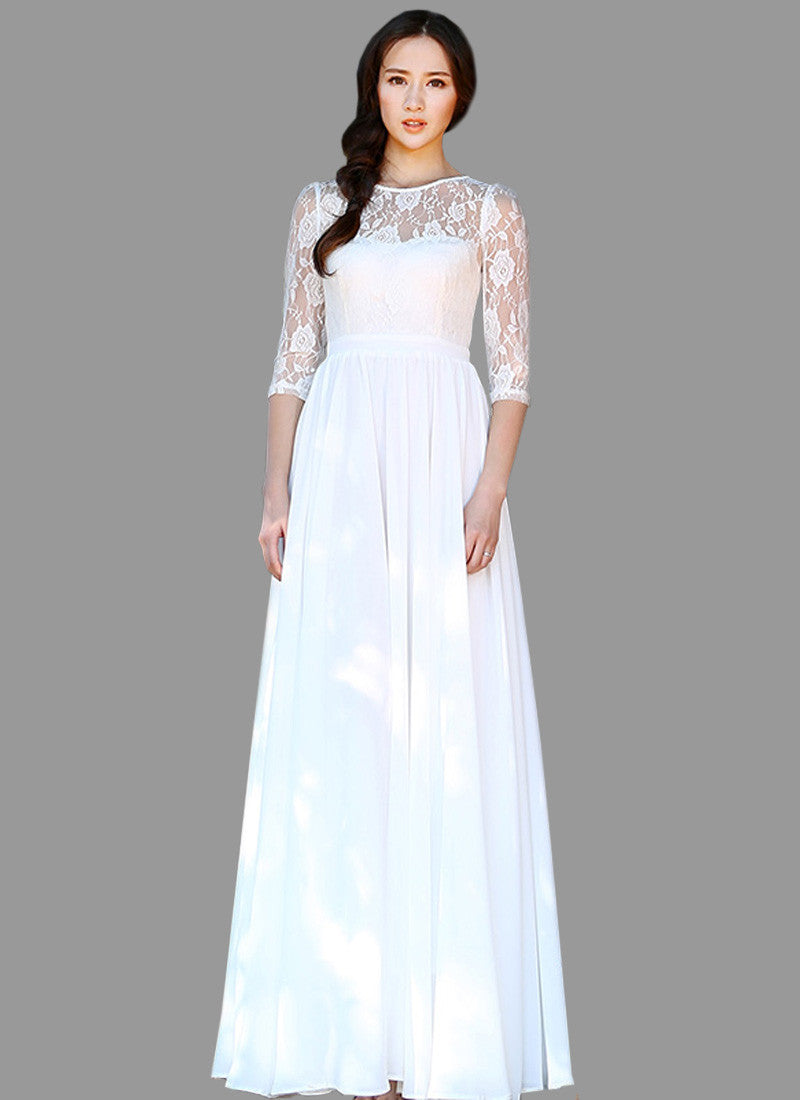 29e81f0588d47 White Lace Chiffon Maxi Dress with Elbow Sleeves RM535