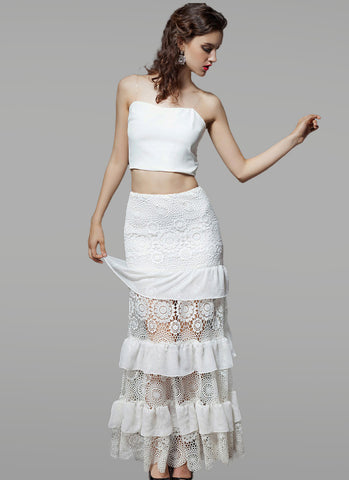 Layered White Lace Maxi Dress and Top RM440